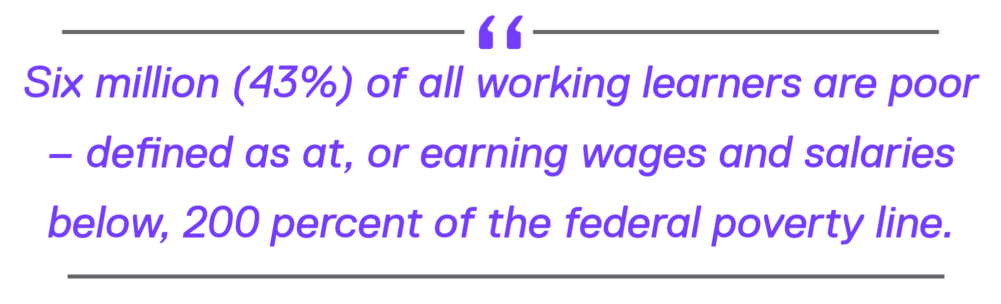 Six million (43%) of all working learners are poor – defined as at, or earning wages and salaries below, 200 percent of the federal poverty line.
