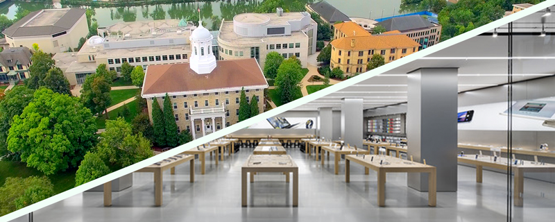 college campus vs apple store